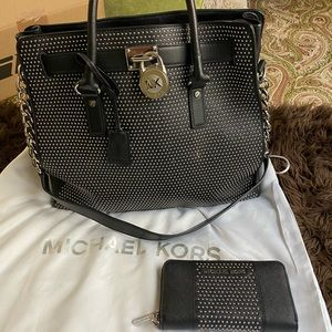 Michael Kors Black Hamilton Large Bag and Wallet